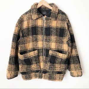 Forever 21 Plaid Teddy Bear Faux Shearling Jacket